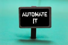 stock image of  text sign showing automate it. conceptual photo convert process or facility to be operated automatic equipment. blackboard green b