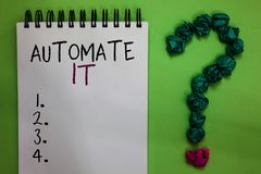 stock image of  text sign showing automate it. conceptual photo convert process or facility to be operated automatic equipment. open notebook crum