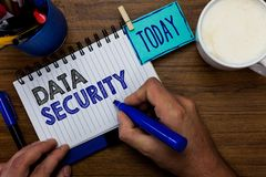 stock image of  text sign showing data security. conceptual photo confidentiality disk encryption backups password shielding man holding marker no