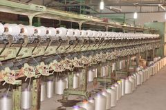 stock image of  the textile industry factory, manufacture of rope