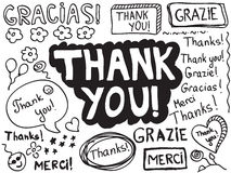stock image of  thank you doodle