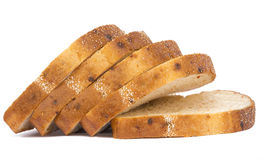 stock image of  toast wheat bread five slices on white background with veget