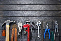 stock image of  tools rustic wood background business construction