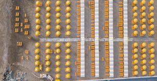 stock image of  top down drone aerial view of the umbrellas and gazebos on italian sandy beaches. riccione, italy. adriatic coast