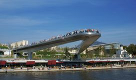 stock image of  tourists at an observation platform above moscow river