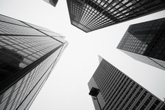 stock image of  towering architecture and cityscapes of five chicago buildings