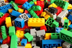 stock image of  toys building blocks, colorful plastic constructor for children