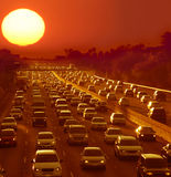 stock image of  traffic jam in los angeles