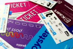 stock image of  transport tickets and passes from several cities, luxembourg, paris, lille, brussels, london