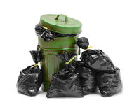 stock image of  trash can and bags