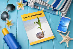 stock image of  travel insurance brochure vacation