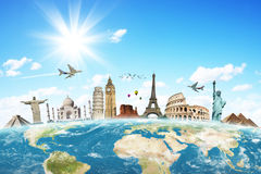 stock image of  travel the world clouds concept