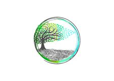 stock image of  tree logo, nature yoga, plant relax symbol, spa icon, organic massage sign, sense wellness and root healthy concept design