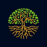 stock image of  tree roots circle logo badge modern vector illustration
