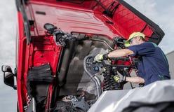 stock image of  truck under maintenance
