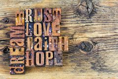 stock image of  trust love faith hope dream message
