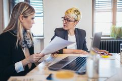 stock image of  two female colleagues in office