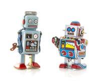 stock image of  two retro tin robots