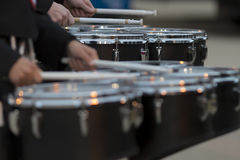 stock image of  two snare drummers warming up before the bands performance