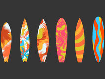 stock image of  types of surfboards with a pattern. water sports and hobbies. vector