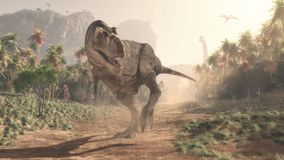 stock image of  tyrannosaurus rex in the jungle