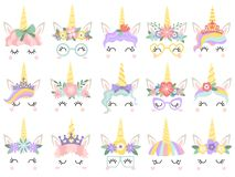 stock image of  unicorn face. beautiful pony unicorns faces, magic horn in rainbow flower wreath and cute eyelashes vector illustration
