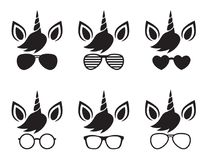 stock image of  unicorn face wearing glasses and sunglasses silhouette vector