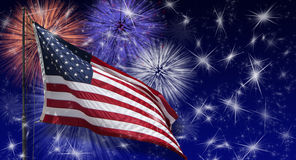 stock image of  usa flag fireworks