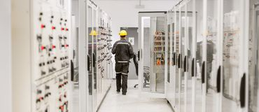 stock image of  using protective relay and medium voltage switchgear. engineering department