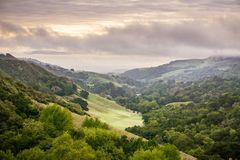 stock image of  valley in las trampas regional wilderness park on a cloudy day, contra costa county, east san francisco bay, california