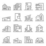stock image of  various real estate property modern style buildings vector line icon set