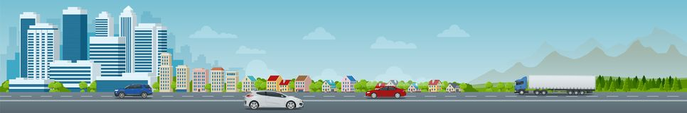 stock image of  vector concept city and suburban life. city street, large modern buildings, cityscape, cars. urban landscape.
