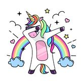 stock image of  vector illustration of fantasy dabbing horse unicorn.