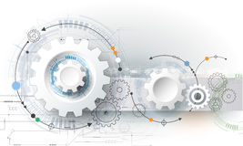 stock image of  vector illustration gear wheel, hexagons and circuit board, hi-tech digital technology and engineering