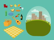 stock image of  vector set constructor for a picnic for a family and romantic picnic in the park, spread out a blanket, a basket of food, summer