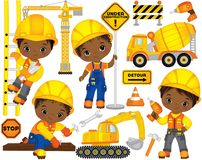 stock image of  vector set with cute african american boys dressed as little builders and construction transport