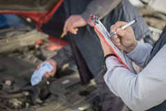 stock image of  vehicle inspection notes