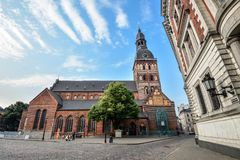 stock image of  view on riga cathedral or dome cathedral in daylight, riga, latvia. the riga cathedral is one of the most recognizable landmarks