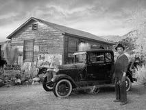 stock image of  vintage ford car, great depression, farmer, farm