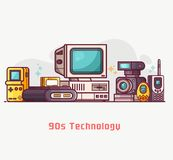 stock image of  vintage tech and electronic devices set