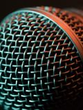 stock image of  vocal microphone macro