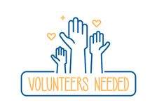 stock image of  volunteers needed banner design. vector illustration for charity, volunteer work, community assistance. crowd with hands raised