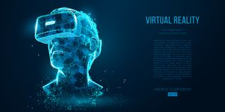 stock image of  vr headset holographic projection virtual reality glasses, helmet. low poly wire outline geometric vector illustration.