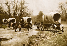 stock image of  wagon train old sepia