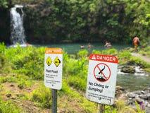 stock image of  warning shallow water no diving