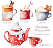 stock image of  watercolor collection with a choice of hot drinks:apple cider,tea,chocolate,cappuccino.