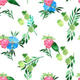 stock image of  watercolor seamless pattern with blue flowers and summer berries. decorative background. vibrant hand painted elements. raspberry