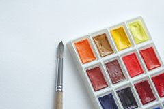 stock image of  watercolors, brushes for drawing. hobbies and creativity