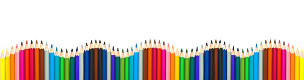 stock image of  wave of colorful wooden pencils isolated on white, panoramic background, back to school concept