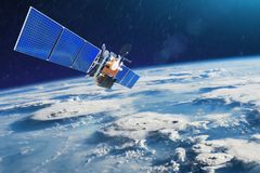 stock image of  weather satellite for observing powerful thunderstorms of storms and tornadoes in space orbiting the earth. elements of this image